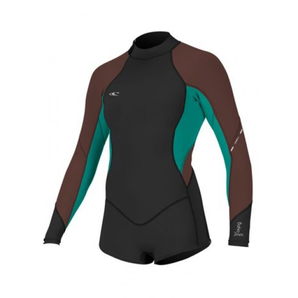 O'Neill Wms Bahia 2/1mm BZ L/S Short Spring Black/Brown/Aqua