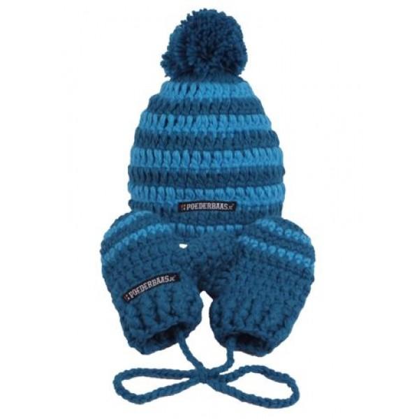 Poederbaas Babymuts met Wantjes Blauw -GS Accessoires - Babymuts met Wantjes Blauw - Poederbaas