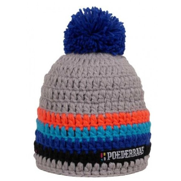 Poederbaas Pompon Grijs Oranje Blauw Zwart -Cadeautip - Pompon Grijs Oranje Blauw Zwart - Poederbaas